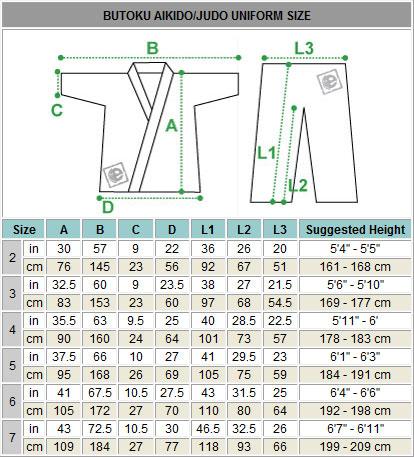 karate gi size chart